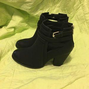 Black cutout booties